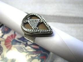 Kazakstan Style Silver & Glass Face Ring, 6.5 Grams, AUD $55.00