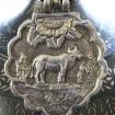 Antique Mughal Silver Cow (Fertility) Amulet Pendant, India, 22.5 Grams
