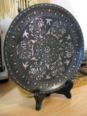Antique Bidriware Silver Inlaid Plate