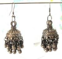 Vintage Pair Indian Jhumka Silver Earrings