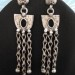 Vintage Indian Silver Earrings, Half Moon Symbol, Long Dangle, Rajasthan, High Grade Silver, 20.3 Grams (0.715oz.)