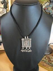 Antique Indian Amulet, 19th Century Silver Hoi Mata amulet Pendant - w