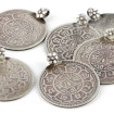 Antique Set, Six High Grade Silver Nepal One Mohar Coins for Pendants, Shah Dynasty 1881-1911, 33 Grams