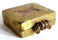 Antique Tibetan Gau, Ghau Box, Copper, Brass Overlay