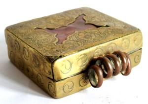 Antique Tibetan Gau, Ghau Box, Copper, Brass Overlay
