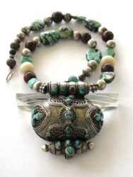 Antique Tibetan Gau Box Necklace, Turquoise Beads
