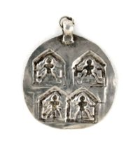 Antique Indian Amulet, Duo Goddess Devi - Back