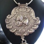 Antique Indian Necklace, Indian Amulet, Purushamriga, Silver Snake Chain, 118 Grams
