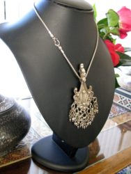 Antique Indian Necklace, Silver Himachal Pradesh Pendant