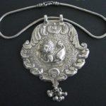 Antique Indian Necklace, Indian Amulet, Purushamriga, Silver Snake Chain, 118 Grams