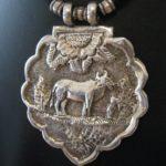 Antique Mughal Era, Silver Cow (Fertility) Amulet Pendant, India, 22.5 Grams