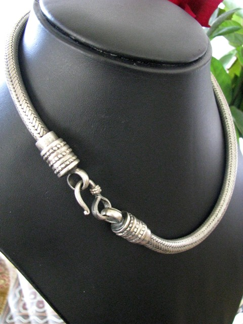 Vintage Indian Silver Snake Chain Necklace