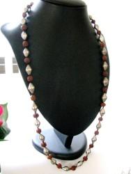 Vintage Rudraksha Seed Bead, Silver Bicone Beads Necklace