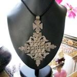 Lalibela, Large Ethiopian Coptic Cross, 80% Silver, Engraved, Hinged, 41.8