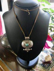 Antique Tibetan Gau, Turquoise, Brass