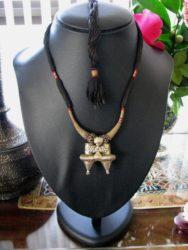 Antique Nagali Lobe Earring Pendant Necklace, Rabari Dhebaria