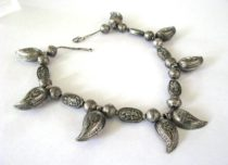 Antique Afghanistan, Turkmenistan, Silver Boteh Necklace