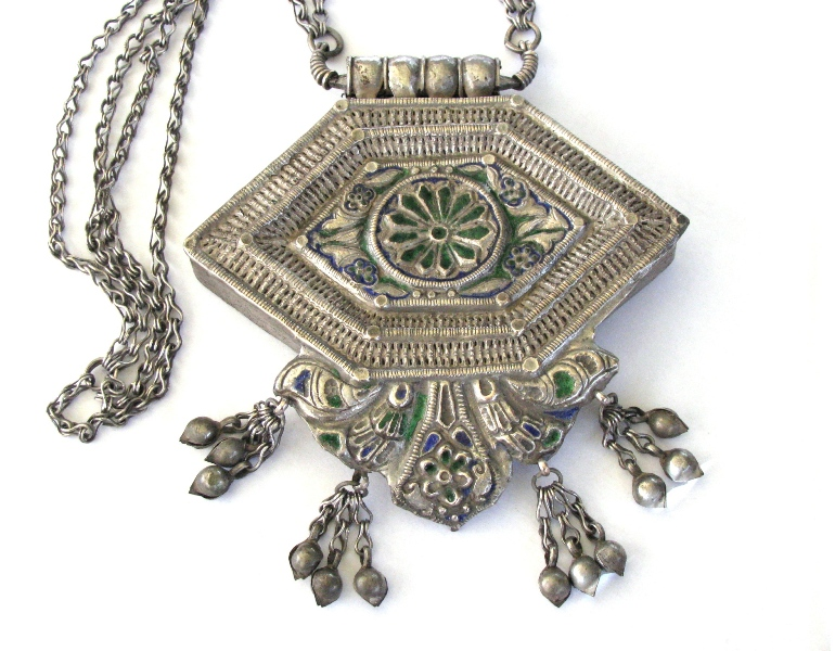 Antique Enamel Gau Box Necklace, Himachal Pradesh