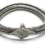 Antique South Indian Armlet, Bracelet, Toda Tribe, Tamil Nadu, Solid Silver, 129.3 Grams