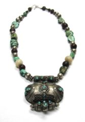 Antique Tibetan Gau Necklace, Heirloom Turquoise Beads