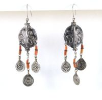 Antique Tajikistan, Uzbekistan Silver Earrings