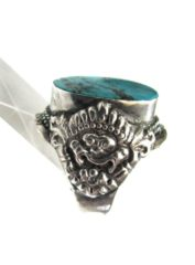 Vintage Tibetan or Nepalese Turquoise Saddle Ring