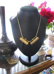Antique Sri Lanka Necklace, Silver Gilt Cylinder Amulets