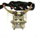 Antique Dhebaria Rabari Twin Nagali Earring Pendant Necklace, Rajasthan,18.6 Grams
