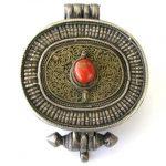 Antique Tibetan Gau, Tibetan Ghau Box, Silver, Filigree, Gilt, Coral,137 Grams