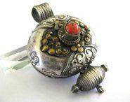 Antique Tibetan Gau,, Silver, Coral