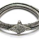 Antique South Indian Armlet, Bracelet, Toda Tribe, Tamil Nadu, Solid Silver, 129.3 Grams