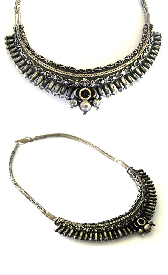 SOLD - Sri Lanka Necklace, Solid Silver Crescent, Filigree