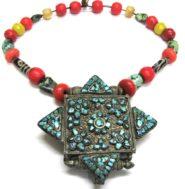 Antique Tibetan Gau Box Necklace, Tibetan Heirloom Beads