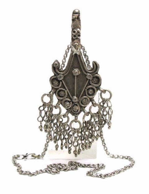 Antique Himachal Pradesh Amulet Pendant, 80% Silver