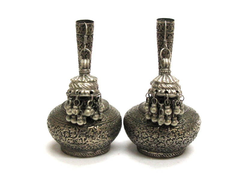 Vintage Indian Jhumka Earrings, High Grade Silver, Rajasthan, India, 33.6 Grams.