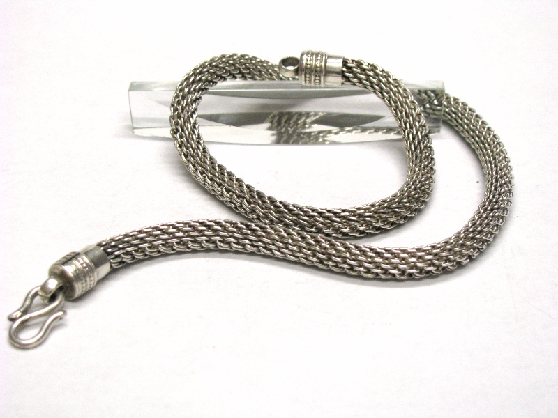 Vintage Indonesian Silver Mesh Link Chain Necklace