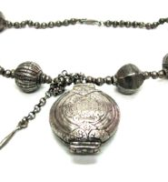 Antique Sri Lanka Necklace, Killotaya, Lime Box, Harar Tribe Ethiopian Large Silver Lac Beads