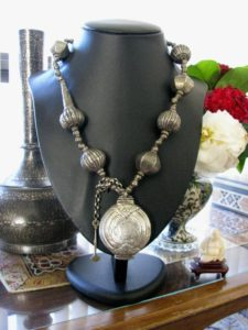 Antique Sri Lanka Necklace, India Necklace, Killotaya, Lime Box (Betel Nut) Pendant,