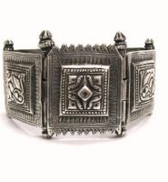 Antique Indian Bracelet, Tamil Nadu Silver Cuff Linked Bracelet,125.3 Grams