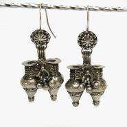 Antique Indian Earrings, Old Nagali Earrings, Dhebaria Rabari Earrings