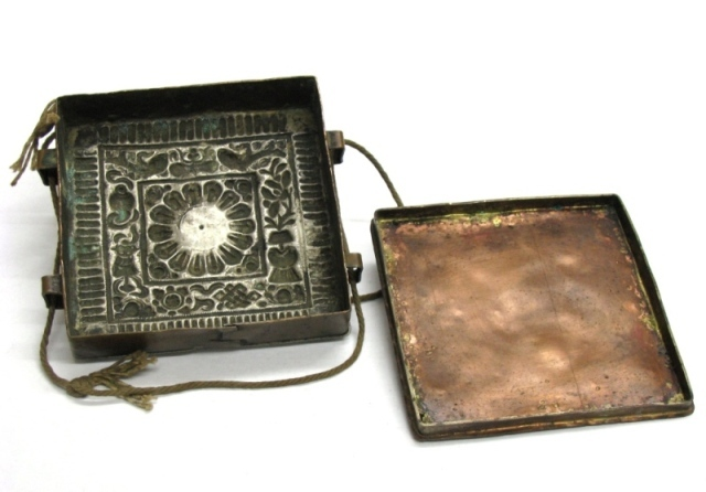 Antique Tibetan Gau Box, Square, Silver, Coral, Copper