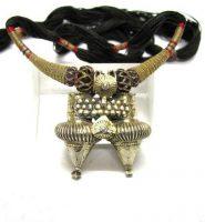 Antique Dhebaria Rabari Twin Nagali Earring Pendant Necklace, Rajasthan,18.6 Grams