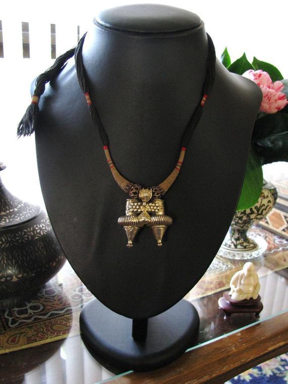 Antique Indian Pendant, Nagali Earring, Rabari Dhebaria