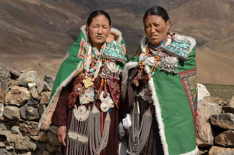 Spiti Women from Himachal Pradesh with Cloak Clasps