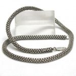 Vintage Indonesian Silver Mesh Chain Necklace, 5mm, Genuine, Solid, 35Grams, 48cm (19″)