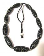 Vintage Tibetan dZi Bead Necklace, dZi Imitation (Glass) Beads