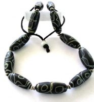 Vintage Tibetan dZi Bead Necklace, dZi Imitation (Glass) Beads