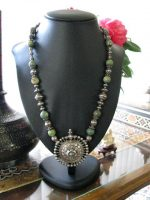 Antique Indian Necklace, Madhya Pradesh Silver Earplug, Rare Beads