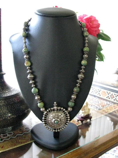Antique Indian Necklace, Madhya Pradesh Silver Earplug, Rare Beads
