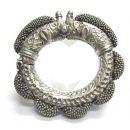 Antique Indian Bracelet, Rajasthan, Makara Heads, High Grade Silver, 201 Grams